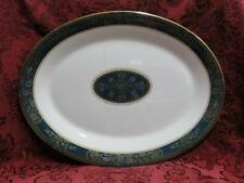 Royal Doulton Carlyle: Blue Flowers, Teal Band, Gold: Oval Serving Platter, 13""