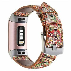 """Paisley Leather Band For Fitbit Charge 4 Charge 3 and 3SE Silver Fits 5.5""""-8.1"""""""
