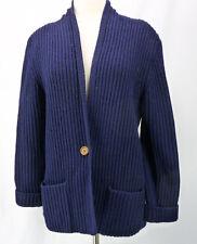 L.L. Bean Vintage 100% Shetland Wool Cowl Ribbed Cardigan Sweater Blue pockets M