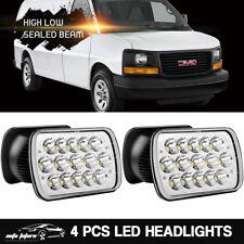4PCS LED Headlight Sealed Hi/Low Beam For GMC Savana 1500 3500 2500 Safari Truck