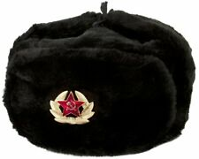 Authentic Russian Ushanka Military Hat Black Soviet Army Badge Size Xl ( 62 cm)