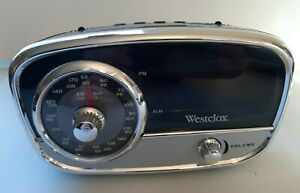 Vintage Retro Westclox 80193 Classic AM/FM Alarm Clock Radio With 3.5mm Jack