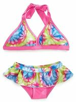 Pink Platinum Little Girls Floral Swirls Bikini Swimsuit Swim Bathing Suit Sz 4