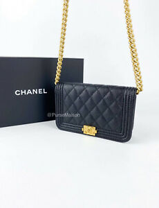 Chanel Le Boy Small/Mini Wallet on Chain WOC Aged Gold Hardware Caviar Series 31