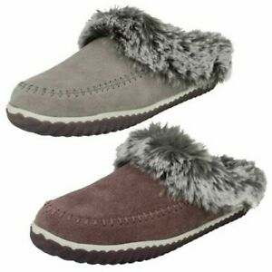 Ladies Clarks Slip On Cosy Mule Slippers Home2 Soft