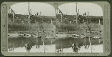 On the run! In hot pursuit we cross the Canal du Nord - WW1 Stereoview