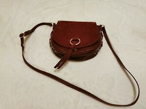 Nine West Crossbody Purse Maroon Leather And Suede Material EUC