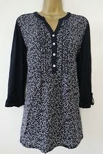 DEBENHAMS NAVY WHITE FLORAL ROLL SLEEVE BLOUSE TUNIC TOP SIZE 16 JERSEY BACK