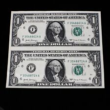 2017 Two Dollar Bill Series F Two $1.00 Bills Uncut Uncirculated