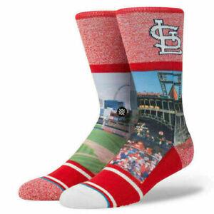 Stance Men Red Crew MLB Baseball St Louis Cardinals Eads Bridge Socks Large 9-12