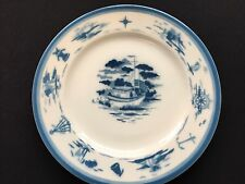 "Syracuse China 10.5"" Chop/Dinner Plate Nautical Theme Airbrushed Blue & White"
