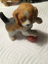 "Homco Beagle Dog With Ball Figurine ""Puppy Pals #8917"" Very Good Condition"