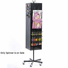 """Black Four-sided Metal Pegboard Magnet Floor Spinner 13"""" W x 13"""" D x 67"""" H"""