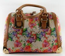 Floral Print Aldo Satchel Handbag Large Doctor Style Bag, Gold Metal, Purse