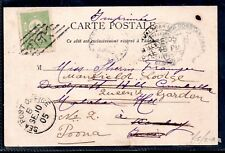 Turkey 1905 Sea Post Multifranking Card Constantinople to Poona WS11469