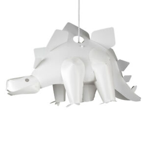Children's Dinosaur 3D White Bedroom Nursery White Plastic Shade Stegosaurus