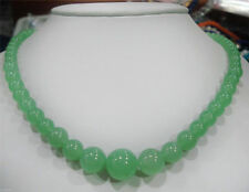 New 6-14mm Natural Light Green Jade Gemstone Beads Necklace 18""