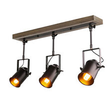 LNC Adjustable Track Industrial Wood Canopy 3-Light, for Ceiling and Wall