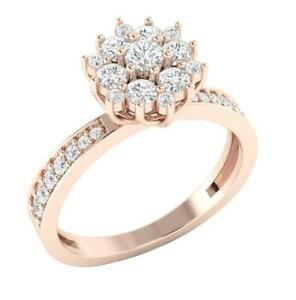Solitaire Engagement Ring SI1 G 0.85 Ct Round Brilliant Diamond 14K Rose Gold
