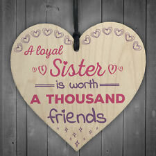 LOYAL SISTER Big Little Sis Gift Shabby Chic Wooden Hanging Heart Plaque Sign
