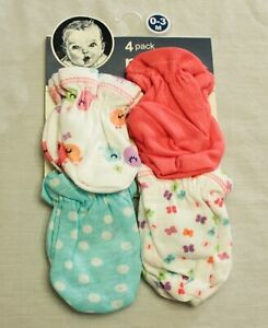Gerber Girl's 4 Pack Printed Mittens SV3 Multicolor Size 0-3 Months NWT