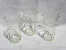 3 Vintage Pale Green Uranium Depression Glass Floral Etched Tumblers