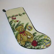Needlepoint Christmas Stocking Lands End Bear Ornaments Tree