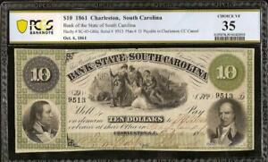 1861 $10 DOLLAR SOUTH CAROLINA BANK NOTE LARGE CURRENCY OLD PAPER MONEY PCGS 35