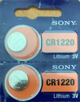 2- Sony CR 1220 LITHIUM BATTERY 3V Authorized Seller USA Free Ship Exp:2029