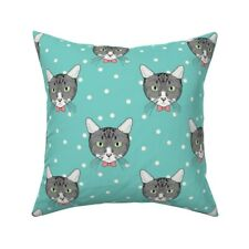 Mint Polka Dot Cat Cute Bow Tie Throw Pillow Cover w Optional Insert by Roostery