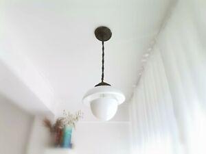 Vintage 50s Danish Modern mid century white opal glass light lamp Verner Panton