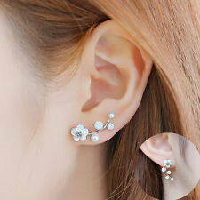 Elegant Cryst Shell Ear Stud Earring Women Flower Daisy Earrings Wedding Jewelry