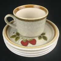 VTG Set 1 Cup and 4 Saucers Mikasa Stone Manor Luscious F5809 Strawberry Japan