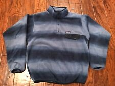 Patagonia Synchilla Snap-T Men's Medium Lightweight Pullover Jacket Navy Striped