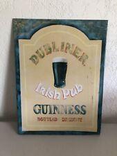 """Dubliner Irish Pub Guinness Bottled Draught Metal Sign 16 X 12 """""""