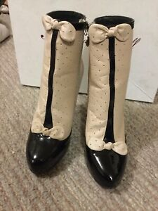 ALANNAH HILL beige Black Leather Below Calf YOU SHOULD'T HAVE BOOTS size 37