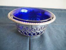 Vintage silver plate bowl with Bristol blue liner
