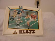 "BLATZ  BEER 1975 FOOTBALL SIGN VAC-U-FORM HEILEMAN BRG. 12"" X 10""  KICKER N CHIN"