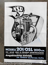 NSU 201 OSL TOUREN SPORT 30ER JAHRE PROSPEKT  200 OLDTIMER MOTORRAD neckarsulm