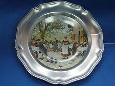 """Dia 8.5"""" Antique German Pewter Plate Porcelain Tile Inserted Artist Signed Nice"""