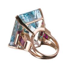 10.4CT Big Emerald Aquamarine Diamond Engagement 14K Rose Gold Ring For Woman