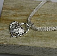 Lovely 925 Sterling Silver Plated Double Love Heart Necklace & Pendant
