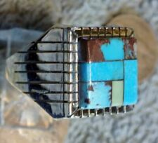 Ring Navajo Ray Jack Size 13 Mens New Sterling Bisbee Blue Turquoise Inlay