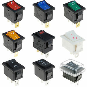 Waterproof On/Off Rectangle Rocker Switch + Cover Car Dashboard Dash Boat 12V