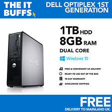 Dell - Dual Core 8GB 1TB HDD Windows 10 - Desktop PC Computer