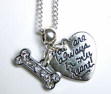 DOG PET LOSS MEMORIAL NECKLACE with RHINESTONE BONE & ALWAYS IN MY HEART CHARMS