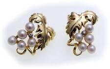 Mujer PENDIENTES HOJAS ORO 585 diamante 0 , CT 02 perlas de amarillo