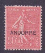 "ANDORRE N° 15 "" SEMEUSE 50c ROUGE"" NEUF xx TTB"