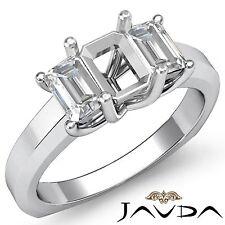 Diamond 3 Stone Engagement Trellis Ring Platinum 950 Emerald Semi Mount 0.5Ct