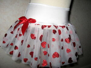 Baby Fairy skirt Girls White Red sparkly Hearts Tutu ballet Valentines Party UK